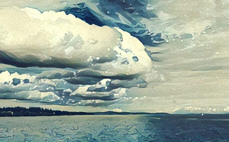 Sky over Puget Sound through Wave filter on Prisma
