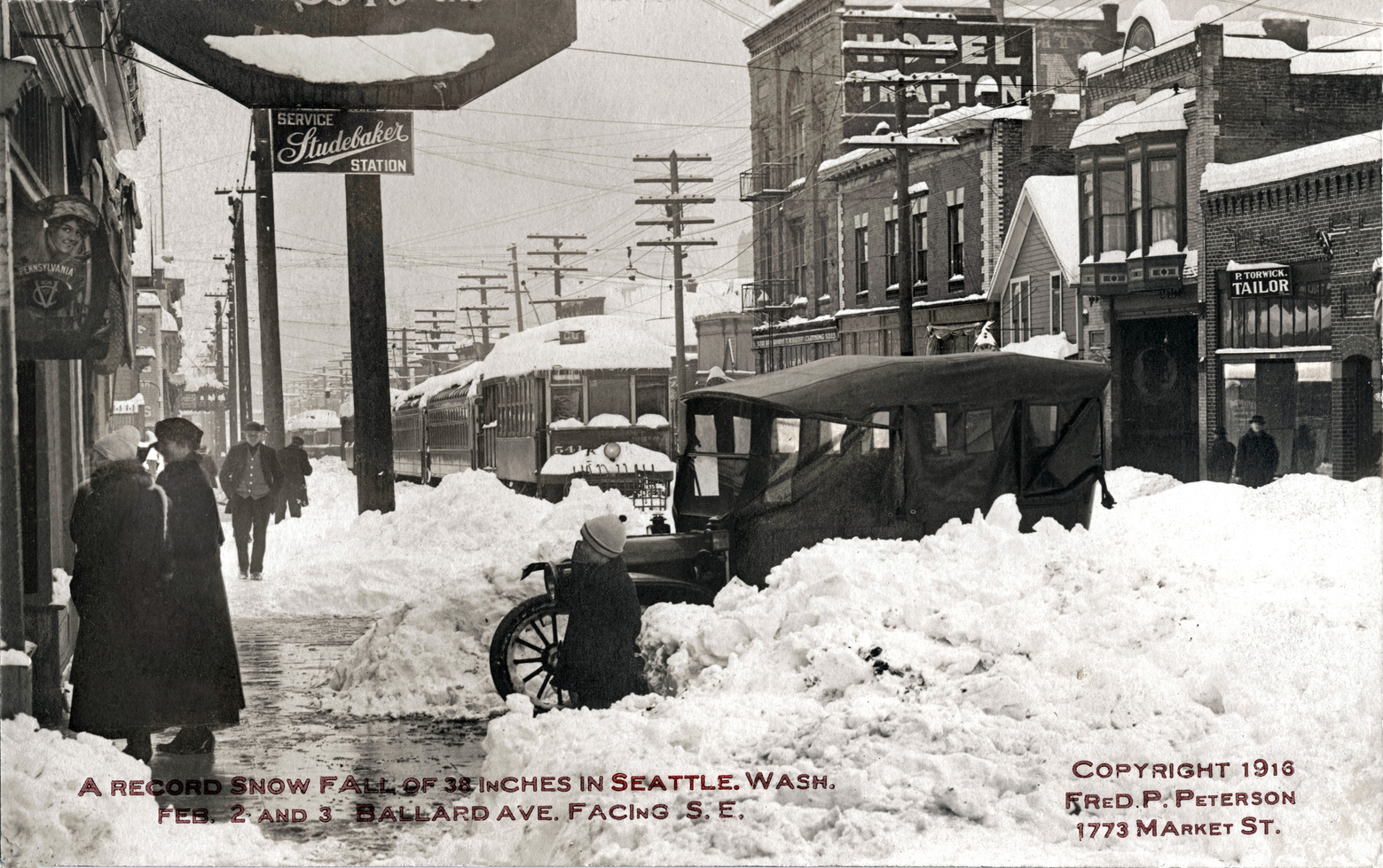 Seattle streets in snow, 1916